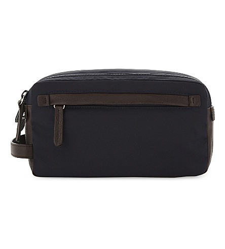 BRUNELLO CUCINELLI Nylon and leather wash bag (Navy