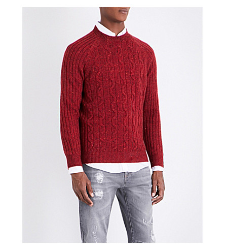 BRUNELLO CUCINELLI flecked cable-knit jumper (Berry+purple