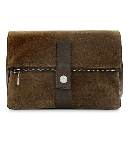 BRUNELLO CUCINELLI Suede and leather wash bag (Tan