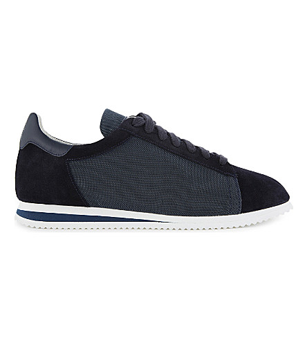 BRUNELLO CUCINELLI Suede and fabric lace-up trainers