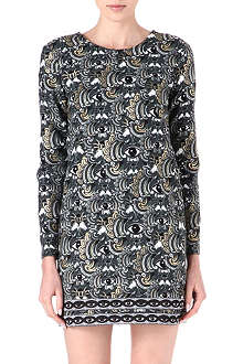 KENZO Long-sleeved eye-print dress