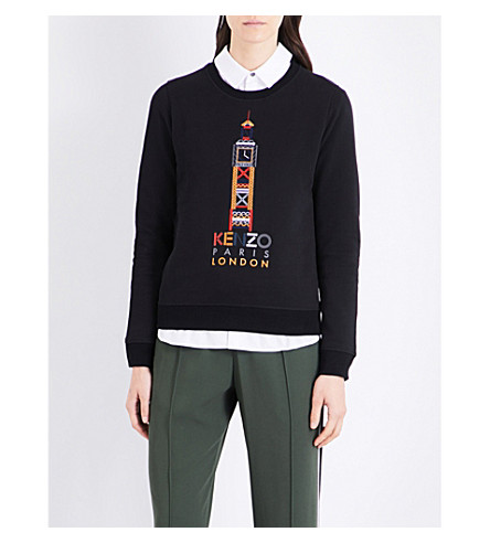 KENZO Big Ben cotton-jersey sweatshirt (Black