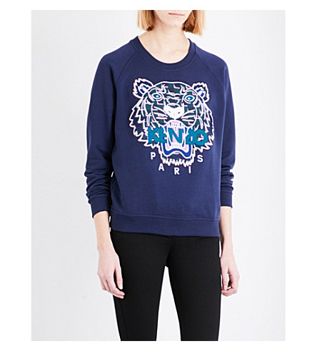 KENZO Icon Tiger-embroidered cotton-jersey sweatshirt (Navy