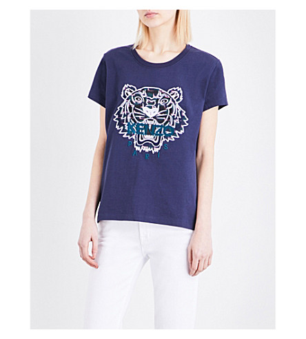 KENZO Tiger-embroidered cotton-jersey T-shirt (Navy