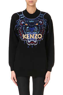 KENZO Embroidered tiger knitted jumper