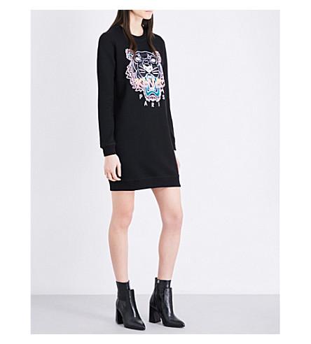 KENZO Tiger-embroidered cotton-jersey mini dress (Black
