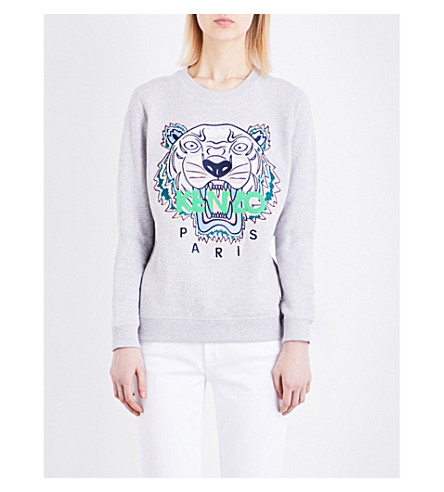 KENZO Icon Tiger-embroidered cotton-jersey sweatshirt (Light grey