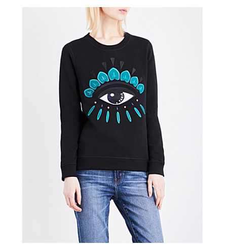 KENZO Icon Eye-embroidered cotton-jersey sweatshirt (Black