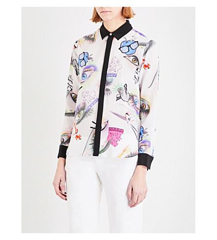 KENZO Printed silk shirt (White