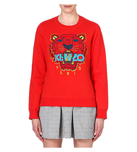 KENZO Tiger embroidered cotton-jersey sweatshirt (Red