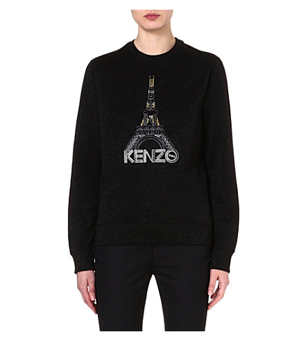 KENZO Embroidered Eiffel Tower sweatshirt (Black