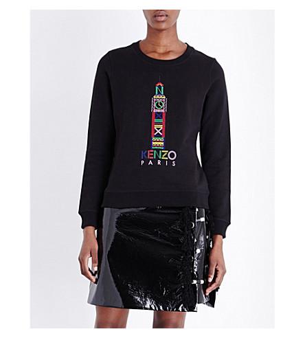 KENZO London-embroidered cotton-jersey sweatshirt (Black