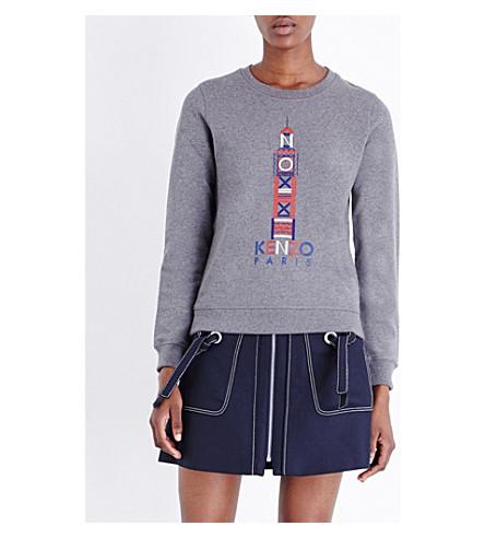 KENZO London-embroidered cotton-jersey sweatshirt (Grey
