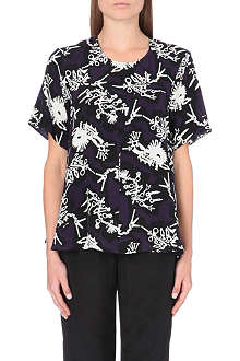 KENZO Monster-print silk top