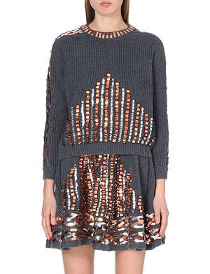 KENZO Metallic embellished wool jumper