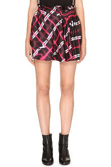 KENZO Pleated satin-twill mini skirt