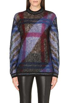 KENZO Intarsia-knit plaid jumper