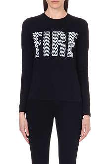 KENZO Fire-print jersey top
