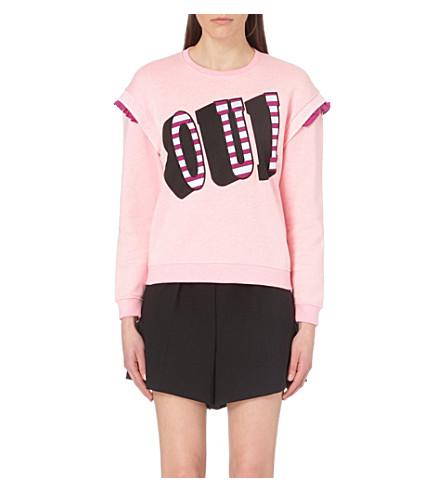 KENZO Oui cotton-jersey sweatshirt (Faded pink