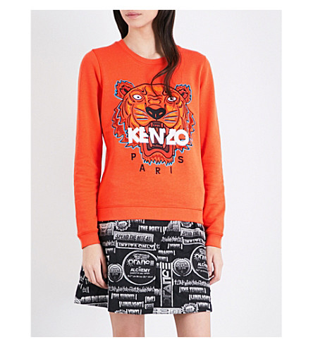 KENZO Tiger cotton-jersey sweatshirt (Lght+brush+mollen-+orng