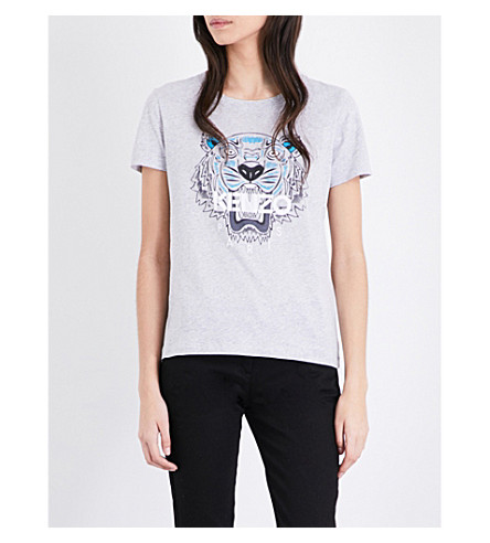 KENZO Tiger cotton-jersey T-shirt (Pale grey