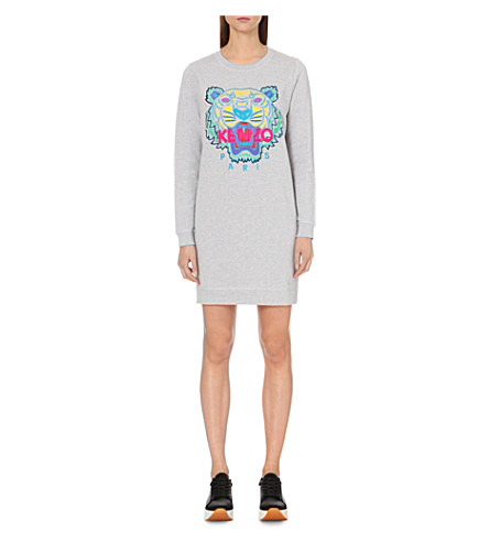 KENZO Tiger cotton-jersey sweatshirt dress (Pale+grey