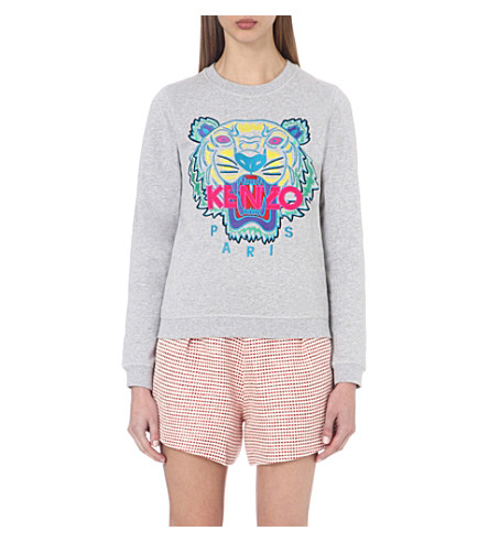 KENZO Tiger cotton-jersey sweatshirt (Light+grey