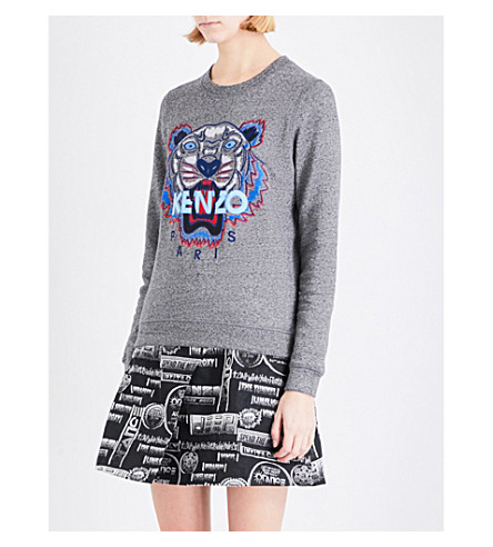 KENZO Tiger-embroidered cotton-jersey sweatshirt (Light+brush+mollen-+grey