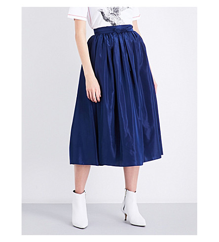 KENZO High-rise taffeta A-line skirt (Navy+blue