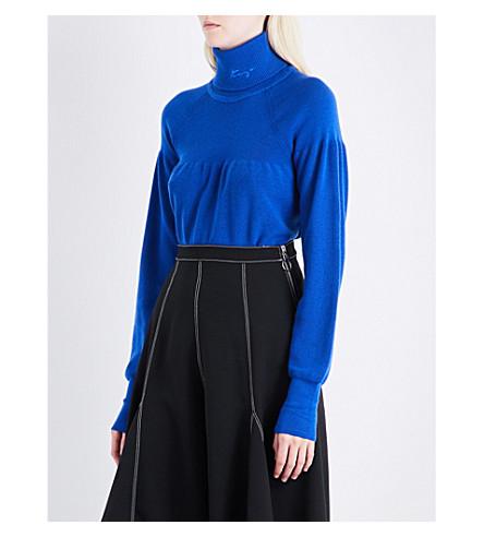 KENZO Ruched-detail wool jumper (Deep+sea+blue
