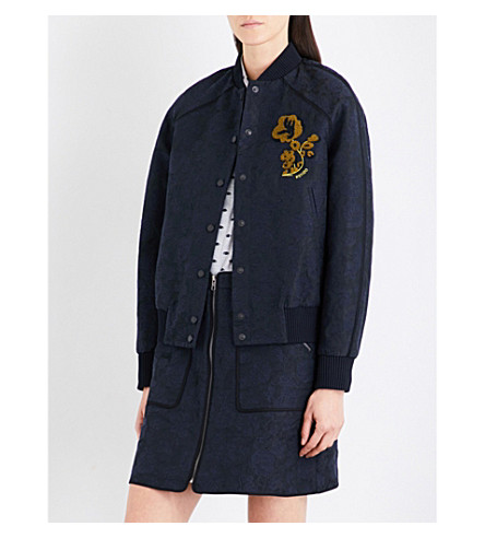 KENZO Floral jacquard blouson jacket (Navy+blue