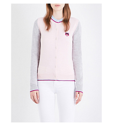 KENZO Tiger-embroidered wool cardigan (Faded+pink