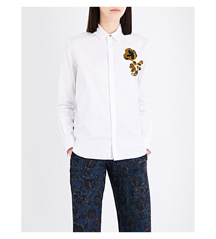 KENZO Floral-embroidered cotton shirt (White