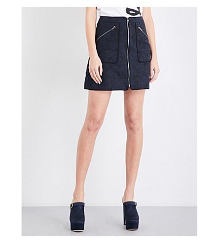 KENZO Zipped floral-jacquard skirt (Navy+blue