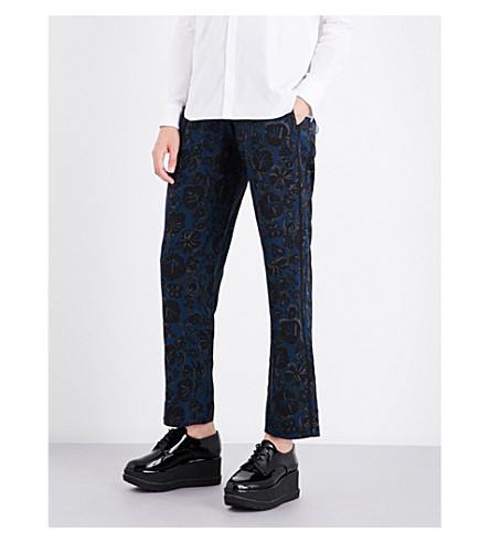 KENZO Floral tapered silk jogging bottoms (Deep+sea+blue