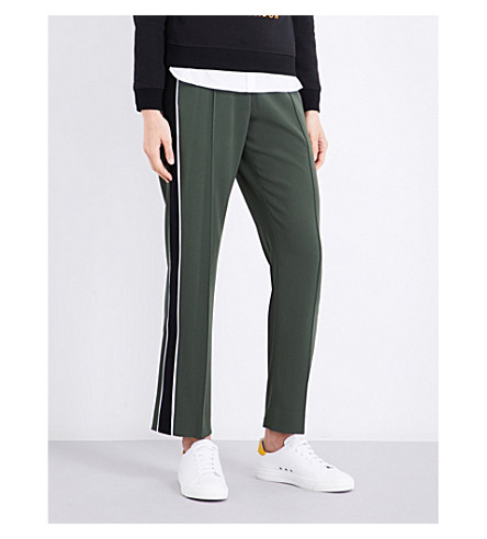 KENZO Striped-panel relaxed-fit crpe jogging bottoms (Dark+khaki