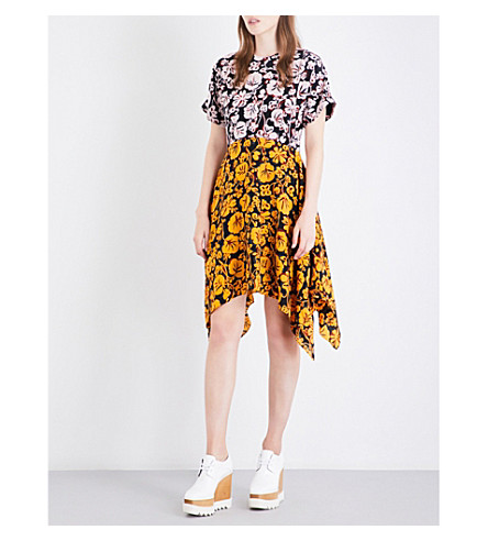 KENZO Floral-print asymmetric silk-crepe dress (Multicoloured