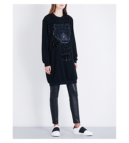 KENZO Embroidered logo crepe dress (Black