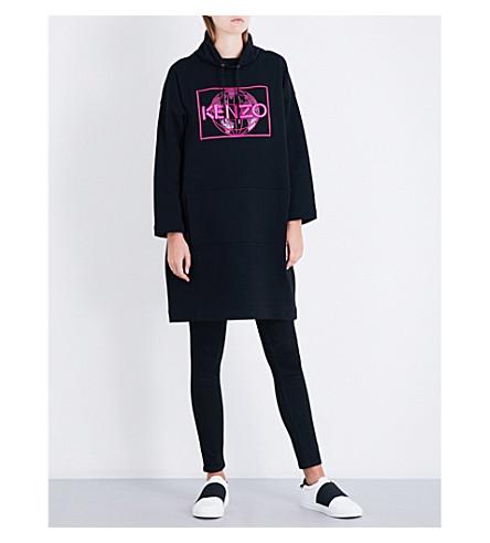 KENZO Hooded cotton-jersey dress (Black
