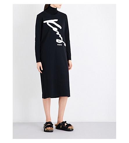 KENZO Signature-print cotton-jersey dress (Black