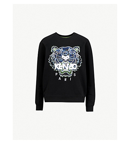 KENZO Tiger-embroidered cotton-jersey sweatshirt (Black