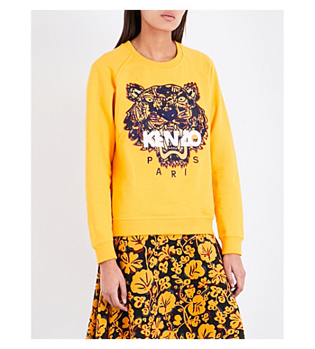 KENZO Icon Tiger-embroidered cotton-jersey sweatshirt (Marigold