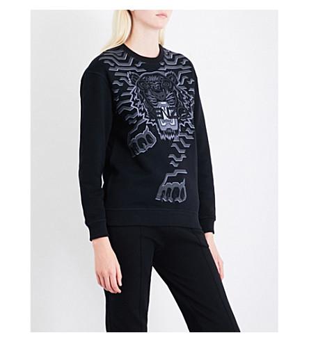 KENZO Geotiger cotton-jersey sweatshirt (Black