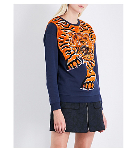 KENZO Icon Tiger-embroidered cotton-jersey sweatshirt (Midnight+blue