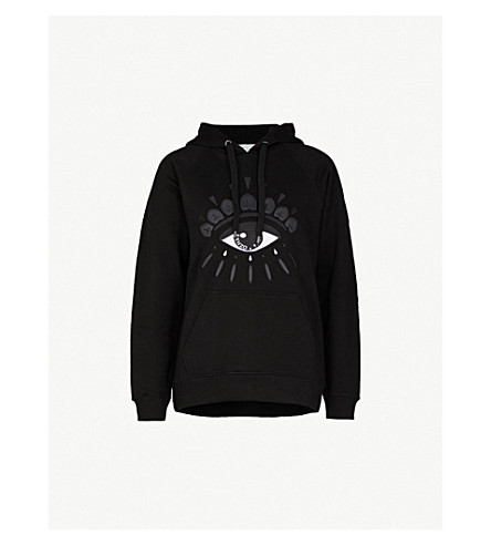 KENZO Evil eye-embroidered cotton-jersey hoody (Black