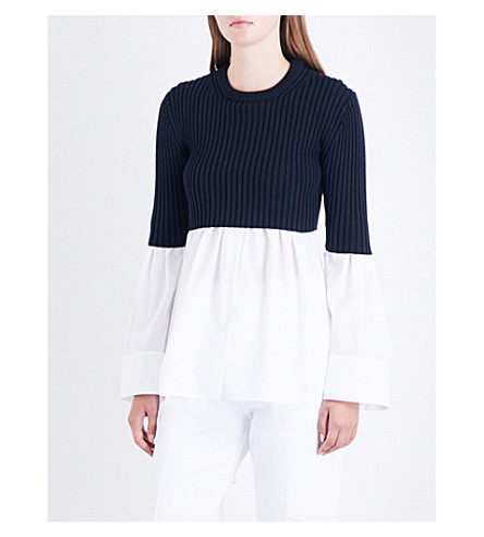 KENZO Cotton-poplin and wool-blend top (White