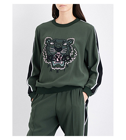 KENZO Tiger-embroidered crepe sweatshirt (Dark+khaki