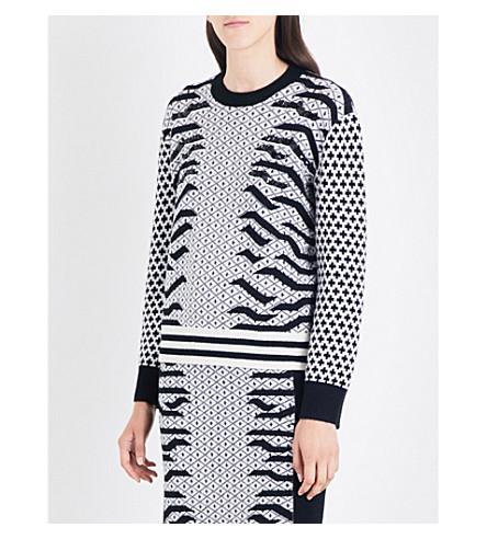 KENZO Geo Tiger embellished wool-blend jumper (Black