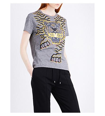 KENZO Geo Tiger cotton-jersey T-shirt (Anthracite