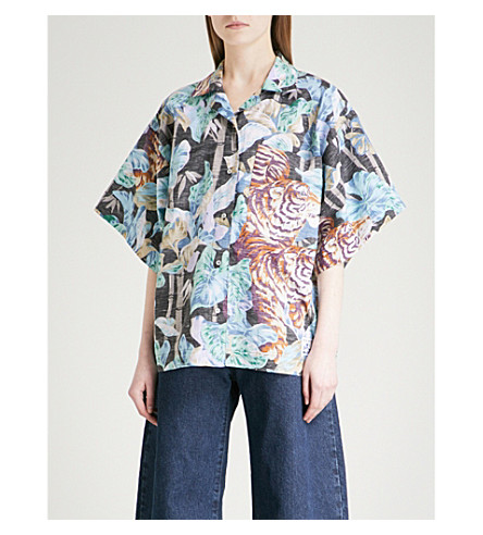 KENZO Kenzo jungle-print cotton and linen-blend shirt (Black